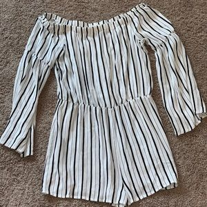 black and white stripped off the shoulder romper